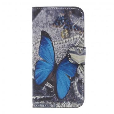 """Divatos """"Blue Butterfly"""" tárca Samsung Galaxy J3 2017 készülékekhez"""