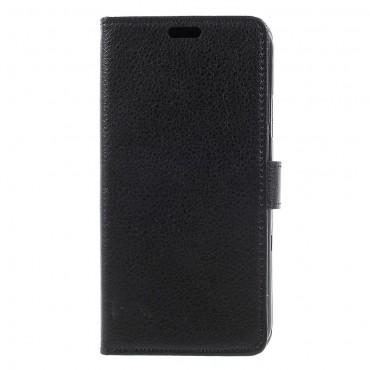 """Elegáns nyitható tok műbőrből """"Litchi"""" iPhone X / XS készülékekhez - fekete"""