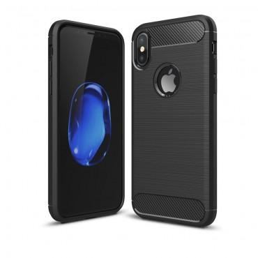 """TPU gél tok """"Brushed Carbon"""" za iPhone X / XS készülékekhez - fekete"""