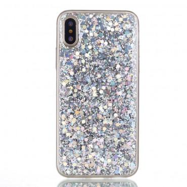Liquid Glitter divatos védőtok iPhone X / XS készülékekhez – ezüstszínű