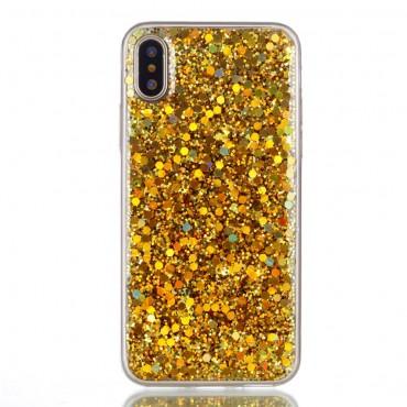 Liquid Glitter divatos védőtok iPhone X / XS készülékekhez – aranyszínű