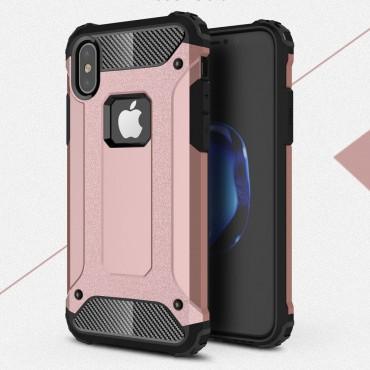 """Strapabíró tok """"Rock"""" iPhone X / XS készülékekhez - rózsaszín"""