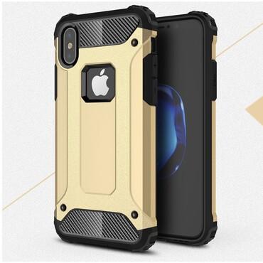 """Strapabíró """"Rock"""" védőtok iPhone X / XS készülékekhez – aranyszínű"""