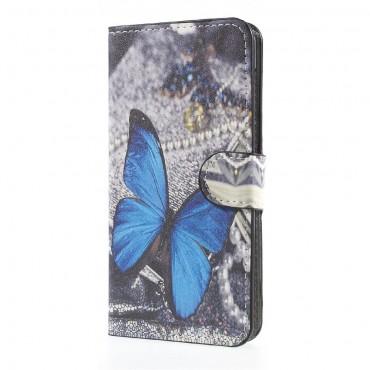 """Divatos """"Blue Butterfly"""" tárca Huawei Y5 2017 / Y6 2017 készülékekhez"""