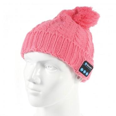 """Bluetooth sapka """"Cof"""" beépített hangszóróval, szabályzóval és mikrofonnal – rózsaszín"""