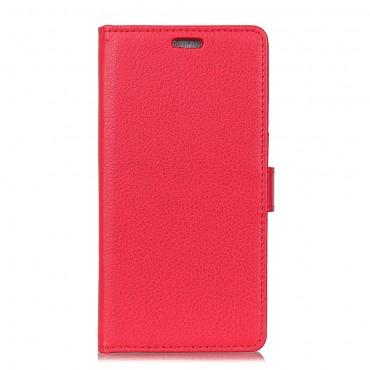 """Elegáns """"Litchi"""" műbőrtárca Huawei Mate 10 Lite készülékekhez – piros"""