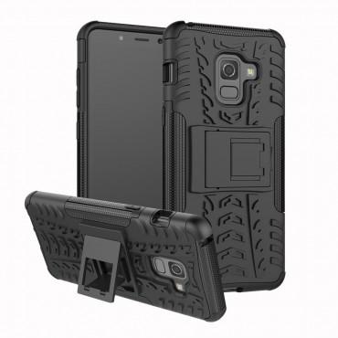 """Hibrid TPU géles """"Tough"""" védőtok Samsung Galaxy A8 2018 készülékekhez – fekete"""