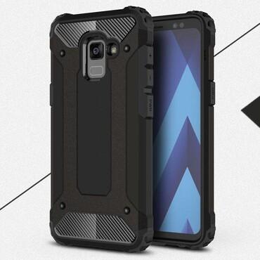 """Strapabíró """"Rock"""" védőtok Samsung Galaxy A8 2018 készülékekhez – fekete"""
