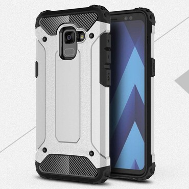 """Strapabíró """"Rock"""" védőtok Samsung Galaxy A8 2018 készülékekhez – ezüstszínű"""