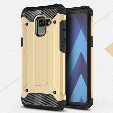 """Strapabíró """"Rock"""" védőtok Samsung Galaxy A8 2018 készülékekhez – aranyszínű"""