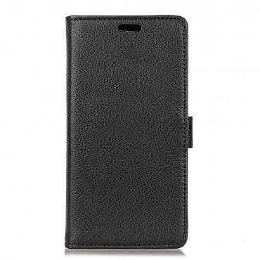 """Elegáns """"Litchi"""" műbőrtárca Samsung Galaxy A8 2018 készülékekhez – fekete"""
