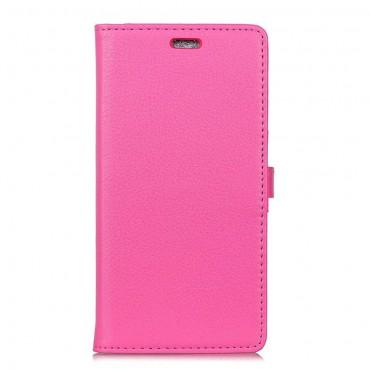 """Elegáns """"Litchi"""" műbőrtárca Samsung Galaxy A8 2018 készülékekhez – rózsaszín"""