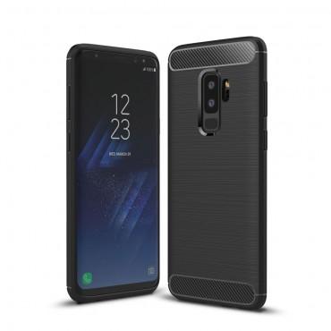 Brushed Carbon TPU géles védőtok Samsung Galaxy S9 Plus készülékekhez – fekete