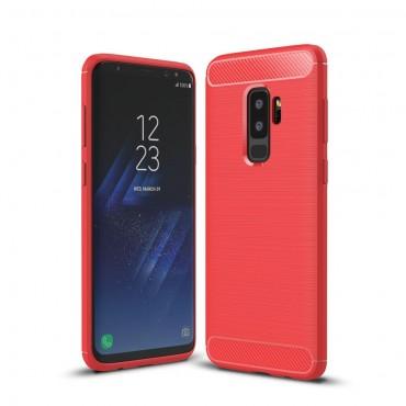 Brushed Carbon TPU géles védőtok Samsung Galaxy S9 Plus készülékekhez – piros