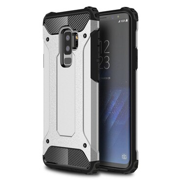 """Strapabíró """"Rock"""" védőtok Samsung Galaxy S9 Plus készülékekhez – ezüstszínű"""