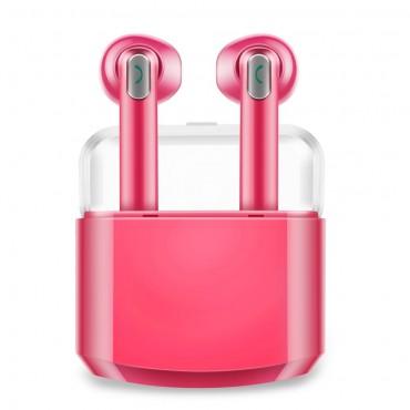 """Earbuds vezeték nélküli bluetooth fülhallgató """"Duo"""" hordozható töltőállomással - rózsaszin"""
