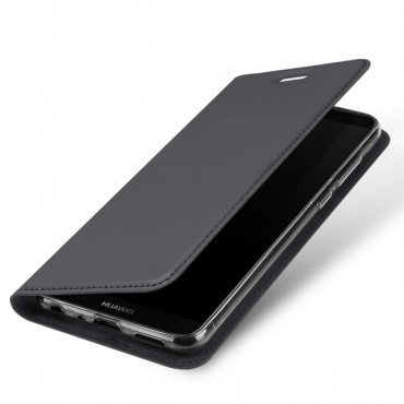 """Divatos """"Skin"""" műbőr tárca Huawei P Smart készülékekhez – szürke"""