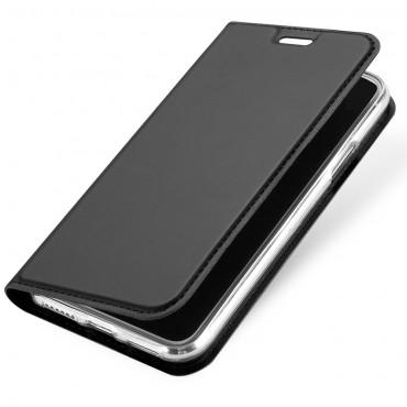 """Divatos nyitható tok műbőrből """"Skin"""" iPhone X / XS készülékekhez - szürke"""