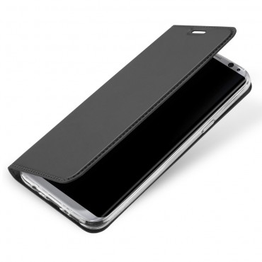 """Divatos """"Skin"""" műbőr tárca Samsung Galaxy S8 Plus készülékekhez – szürke"""