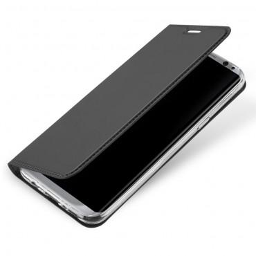 """Divatos """"Skin"""" műbőr tárca Samsung Galaxy S8 készülékekhez – szürke"""