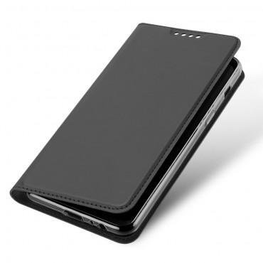 """Divatos """"Skin"""" műbőr tárca Samsung Galaxy A8 2018 készülékekhez – szürke"""