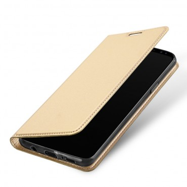 """Divatos """"Skin"""" műbőr tárca Samsung Galaxy S9 Plus készülékekhez – aranyszínű"""