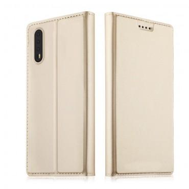 """Divatos """"Skin"""" műbőr tárca Huawei P20 készülékekhez – aranyszínű"""