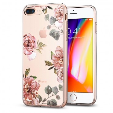 "Tok Spigen ""Liquid Crystal"" iPhone 8 Plus / iPhone 7 Plus készülékekhez - aquarelle rose"