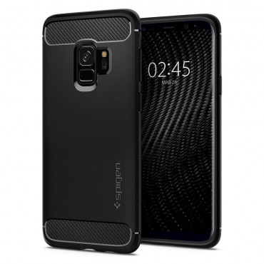 """Spigen """"Rugged Armor"""" védőtok Samsung Galaxy S9 készülékekhez – fekete"""