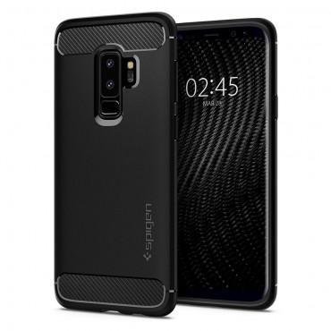 """Spigen """"Rugged Armor"""" védőtok Samsung Galaxy S9 Plus készülékekhez – fekete"""
