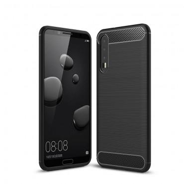 Brushed Carbon TPU géles védőtok Huawei P20 Pro készülékekhez – fekete