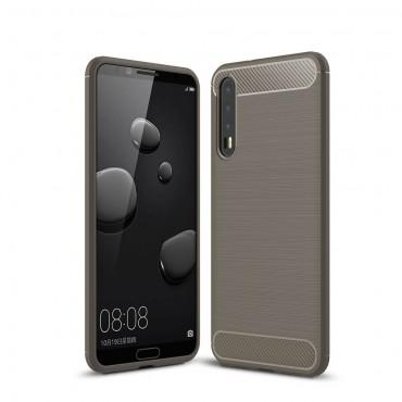 Brushed Carbon TPU géles védőtok Huawei P20 Pro készülékekhez – szürke