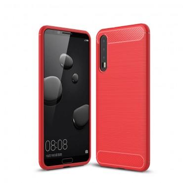Brushed Carbon TPU géles védőtok Huawei P20 Pro készülékekhez – piros