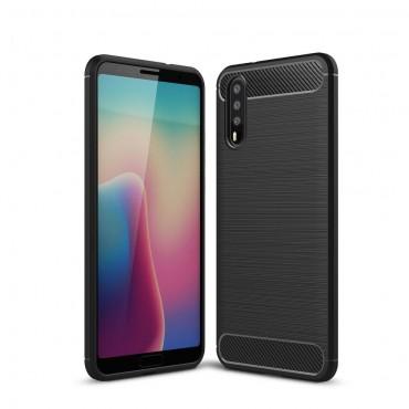 Brushed Carbon TPU géles védőtok Huawei P20 készülékekhez – fekete