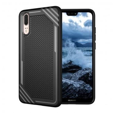 """TPU gél tok """"Texture"""" Huawei P20 készülékekhez - fekete"""