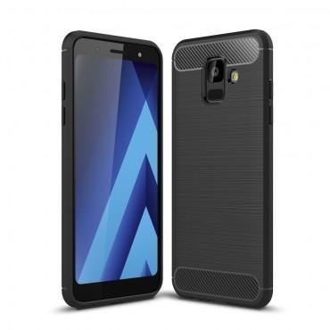 Brushed Carbon TPU géles védőtok Samsung Galaxy A6 2018 készülékekhez – fekete
