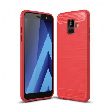 Brushed Carbon TPU géles védőtok Samsung Galaxy A6 2018 készülékekhez – piros