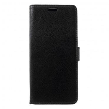 """Elegáns """"Litchi"""" tárca Samsung Galaxy A6 2018 készülékekhez – fekete"""