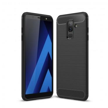 Brushed Carbon TPU géles védőtok Samsung Galaxy A6 Plus 2018 készülékekhez – fekete
