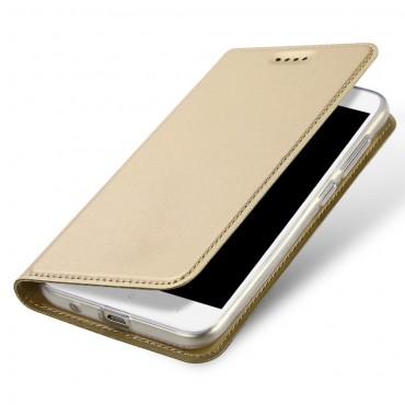 """Divatos nyitható tok műbőrből """"Skin"""" Xiaomi Redmi 5A készülékekhez - arany"""