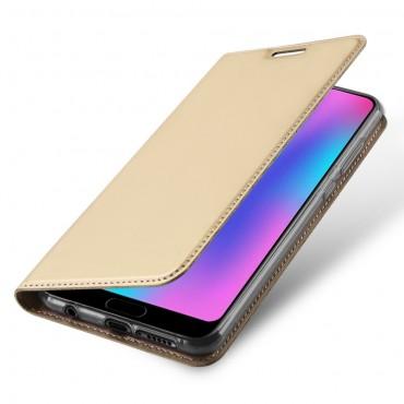"""Divatos nyitható tok műbőrből """"Skin"""" Huawei Honor 10 készülékekhez - arany"""
