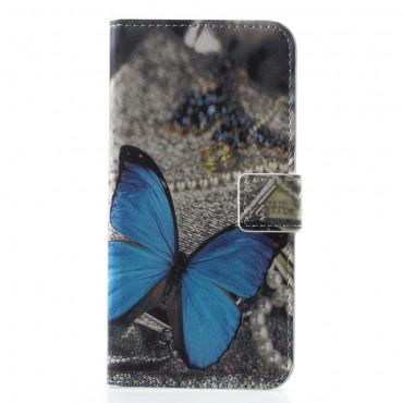 """Divatos nyitható tok """"Blue Butterfly"""" Huawei Honor 10 készülékekhez"""