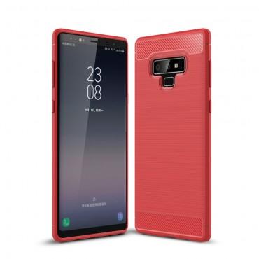 Brushed Carbon TPU géles védőtok Samsung Galaxy Note 9 készülékekhez – piros