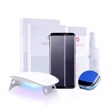 2x Prémium minőségű Optishield Lux védőüveg Samsung Galaxy S9 Plus készülékekhez + UV lámpa