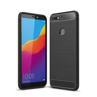 Brushed Carbon TPU géles védőtok Huawei Y7 Prime 2018 / Y7 2018 készülékekhez – fekete