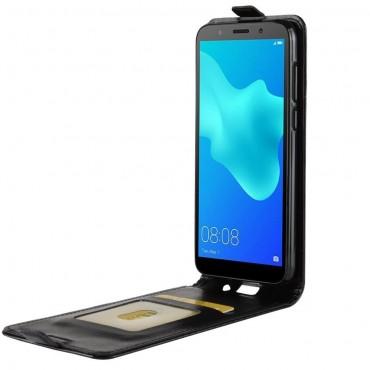 Divatos flip tárca Huawei Y5 2018 / Y5 Prime 2018 - roza készülékekhez – fekete