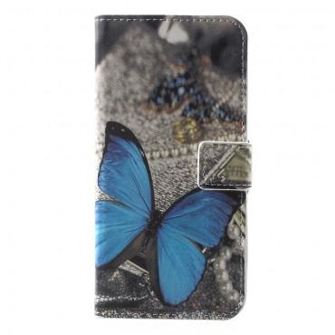 """Divatos """"Blue Butterfly"""" tárca Huawei Y5 2018 / Y5 Prime 2018 - roza készülékekhez"""