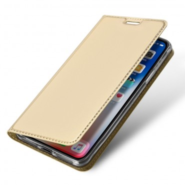 """Divatos """"Skin"""" műbőr tárca iPhone XR készülékekhez – aranyszínű"""