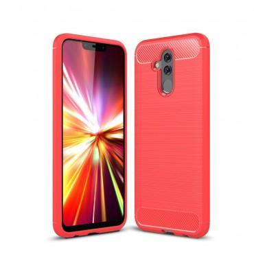 Brushed Carbon TPU géles védőtok Huawei Mate 20 Lite készülékekhez – piros