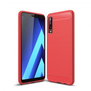 Brushed Carbon TPU géles védőtok Samsung Galaxy A7 2018 készülékekhez – piros